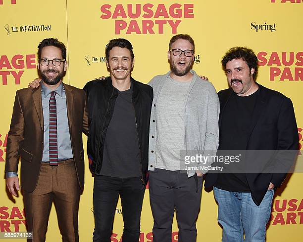 Paul Rudd James Franco Seth Rogen and David Krumholtz attend the premiere of 'Sausage Party' at Sunshine Landmark on August 4 2016 in New York City