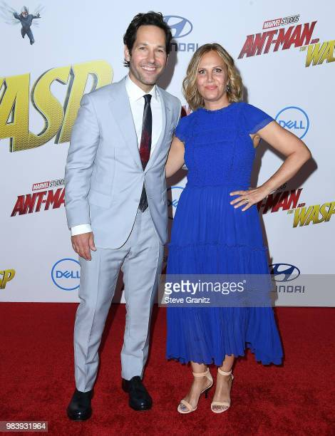 """Paul Rudd, Julie Yaeger arrives at the Premiere Of Disney And Marvel's """"Ant-Man And The Wasp"""" on June 25, 2018 in Hollywood, California."""