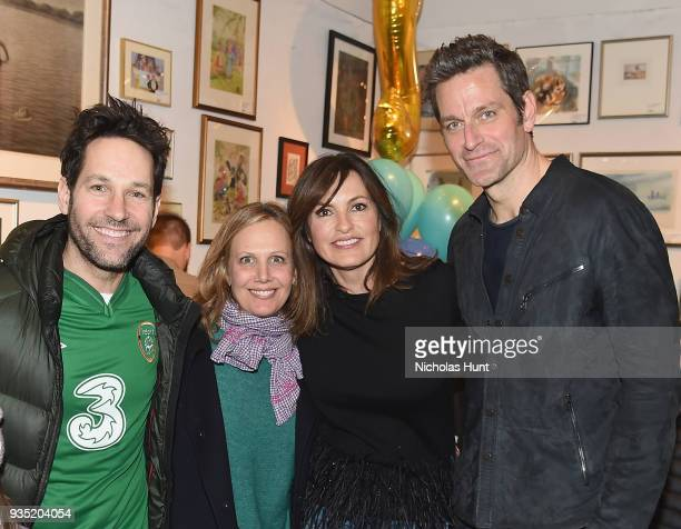 """Paul Rudd, Julie Yaeger, Mariska Hargitay and Peter Hermann attend the book launch party for Peter Hermann's """"If The S in Moose Comes Loose"""" at Books..."""
