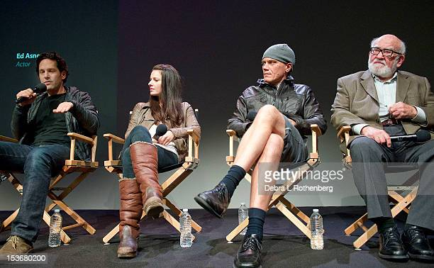 Paul Rudd Kate Arrington Michael Shannon and Ed Asner attend Meet The Cast of Broadway's Grace at the Apple Store Soho on October 8 2012 in New York...