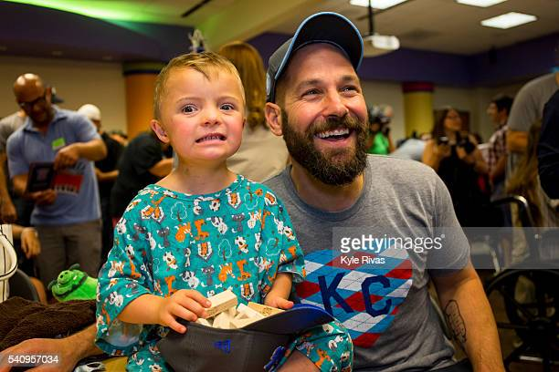 Paul Rudd meets with patients at Children's Mercy Hospital during the Big Slick Celebrity Weekend benefitting Children's Mercy Hospital of Kansas...