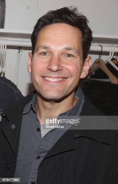 Paul Rudd poses backstage at the hit musical based on the film Groundhog Day on Broadway at The August Wilson Theatre on May 5 2017 in New York City
