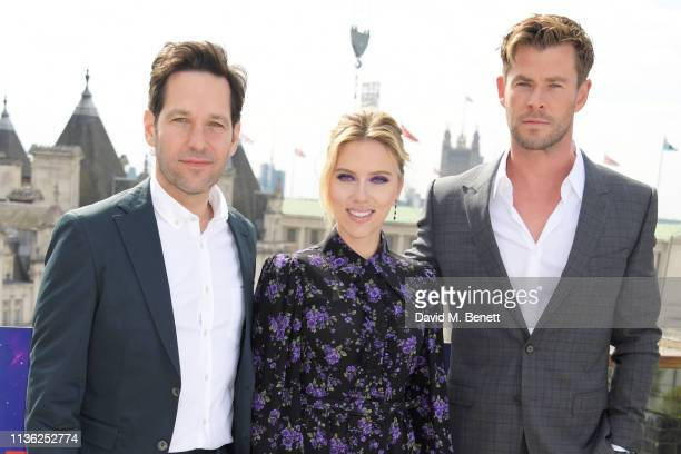 "Paul Rudd, Scarlett Johansson and Chris Hemsworth attend the ""Avengers Endgame"" photocall at Corinthia London on April 11, 2019 in London, England."