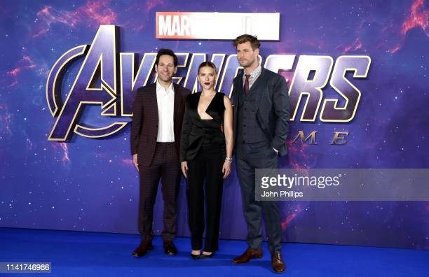 Paul Rudd Scarlett Johansson and Chris Hemsworth attend the 'Avengers Endgame' UK Fan Event at the Picturehouse Central on April 10 2019 in London...