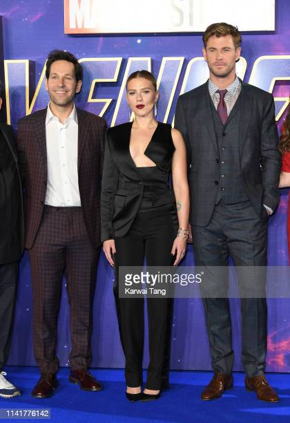 Paul Rudd Scarlett Johansson and Chris Hemsworth attend the 'Avengers Endgame' UK Fan Event at Picturehouse Central on April 10 2019 in London England