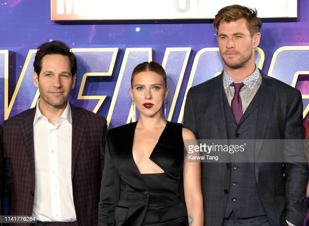 Paul Rudd Scarlett Johansson and Chris Hemsworth attend the Avengers Endgame UK Fan Event at Picturehouse Central on April 10 2019 in London England