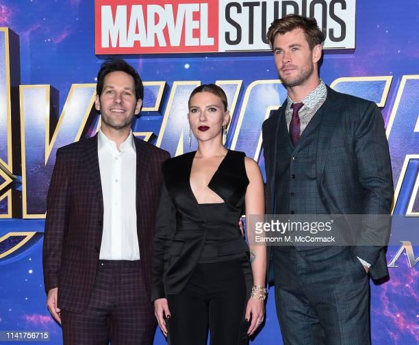 Paul Rudd Scarlett Johansson and Chris Hemsworth attend the UK Fan Event to celebrate the release of Marvel Studios' Avengers Endgame at Picturehouse...