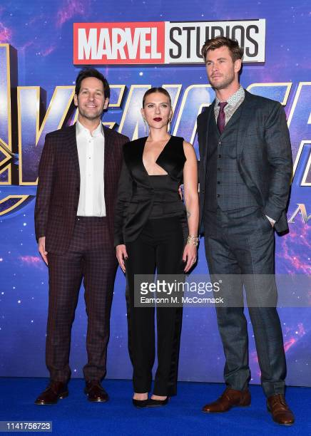 Paul Rudd Scarlett Johansson and Chris Hemsworth attend the UK Fan Event to celebrate the release of Marvel Studios' 'Avengers Endgame' at...