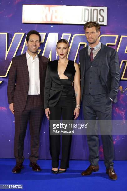 Paul Rudd Scarlett Johansson and Chris Hemsworth attends the 'Avengers Endgame' UK Fan Event at Picturehouse Central on April 10 2019 in London...