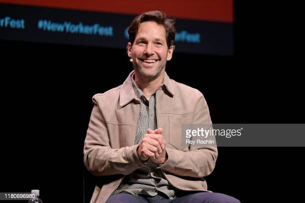 Paul Rudd speaks onstage during a talk with Michael Specter at the 2019 New Yorker Festival on October 12 2019 in New York City