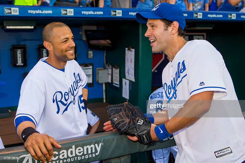 Paul Rudd talks to Alex Rios #15 of the Kansas City Royals before the first pitch ceremony at Kauffman Stadium for the Big Slick Celebrity Weekend benefiting Children's Mercy Hospital Kansas City June 19, 2015 in Kansas City, Missouri.