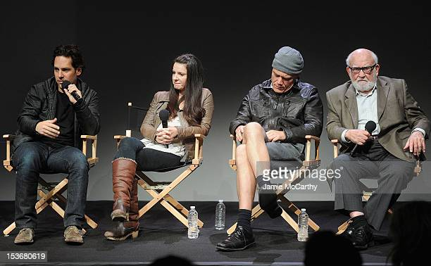 Paul RuddKate ArringtonMichael Shannon and Ed Asner attend Meet The Cast of Broadway's Grace at the Apple Store Soho on October 8 2012 in New York...
