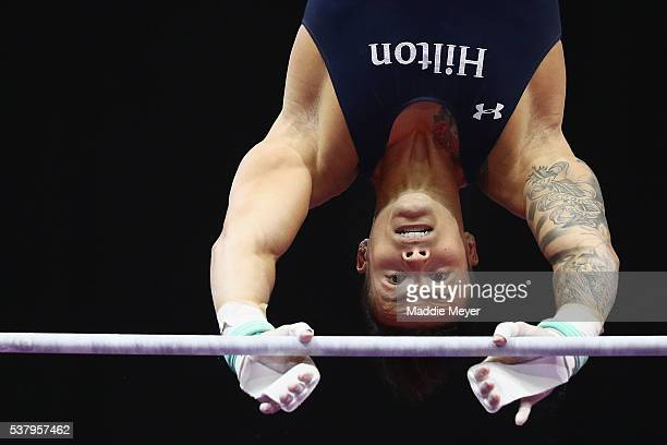 Paul Ruggeri III competes on the horizontal bar during the Men's PG Gymnastics Championships at the XL Center on June 3 2016 in Hartford Connecticut