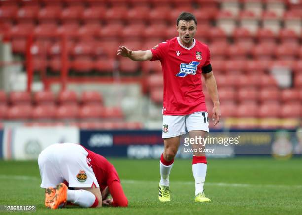 Paul Rutherford of Wrexham reacts during the Vanarama National League match between Wrexham and Aldershot Town at Racecourse Ground on November 21,...