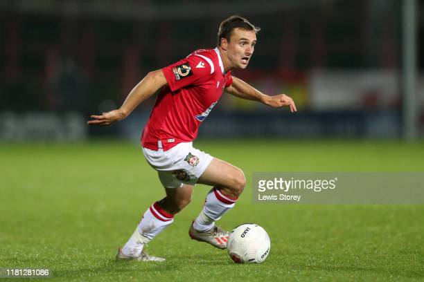 Paul Rutherford on the ball during the Vanarama National League match between Wrexham and Chesterfield at the Racecourse Ground on October 15 2019 in...