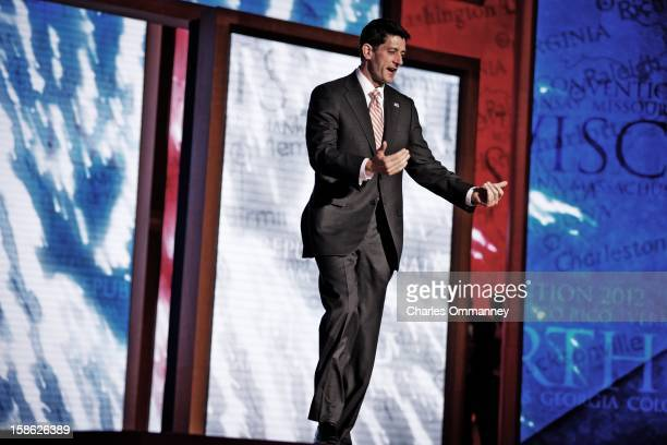 Paul Ryan stands onstage during the Republican National Convention at the Tampa Bay Times Forum on August 30 2012 in Tampa Florida Today is the third...