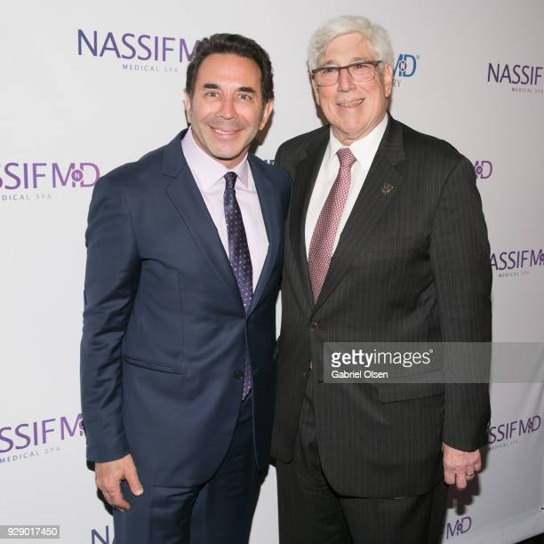 Paul S Nassif and Julian A Gold arrive for Dr Paul Nassif's unveiling of his new medical spa with grand opening and ribboncutting ceremony at Nassif...