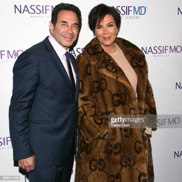 Paul S Nassif and Kris Jenner arrive for Dr Paul Nassif's unveiling of his new medical spa with grand opening and ribboncutting ceremony at Nassif MD...