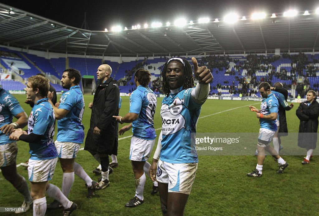 Paul Sackey of Toulon celebrates after their victory during the Heineken Cup Pool 3 match between London Irish and Toulon at Madejski Stadium on December 12, 2010 in Reading, England.