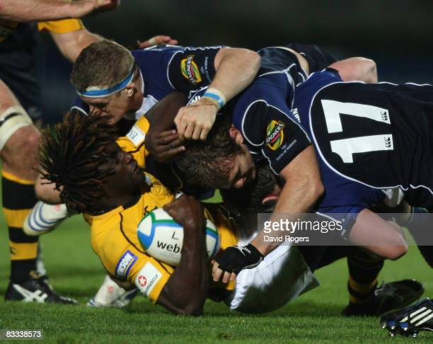 Paul Sackey of Wasps is tackled by Cian Healey during the Heineken Cup match between Leinster and London Wasps at the RDS Ground on October 18 2008...
