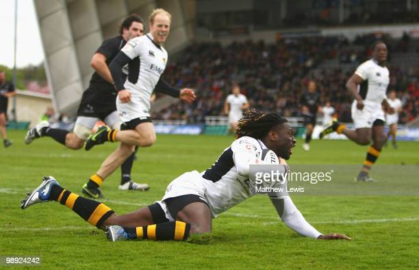 Paul Sackey of Wasps scores a try during the Guinness Premiership match between Newcastle Falcons and London Wasps at Kingston Park on May 8, 2010 in...