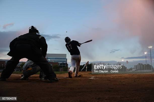Paul Salata McMahon Senators hits a home run during an early evening High School Baseball ball game between St Joseph and McMahon Senators at Brien...