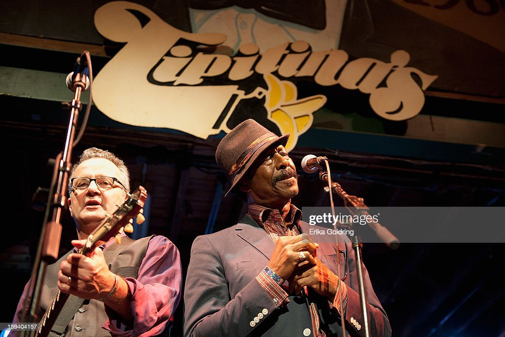 Paul Sanchez of Paul Sanchez & The Rolling Road Show performs with actor Clarke Peters, Alfred 'Big Chief' Lambeaux on the HBO series Treme, during 'My Lil' Darlin': An HBO Treme All Star Revue' at Tipitina's on January 12, 2013 in New Orleans, Louisiana.