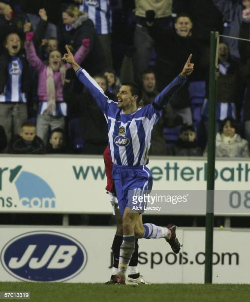 Paul Scharner of Wigan Athletic celebrates his opening goal during the Barclays Premiership match between Wigan Athletic and Manchester United at the...