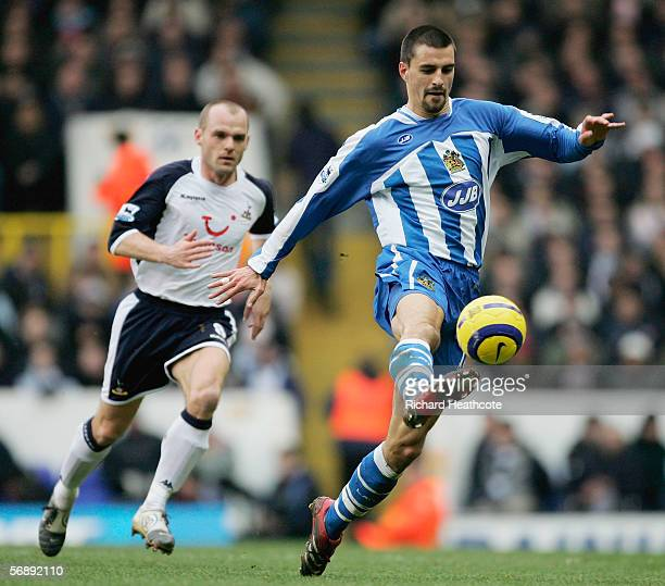 Paul Scharner of Wigan Athletic in action during the Barclays Premiership match between Tottenham Hotspur and Wigan Athletic at White Hart Lane on...