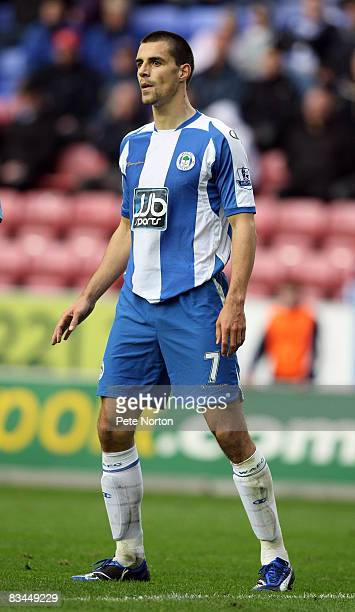 Paul Scharner of Wigan Athletic in action during the FA Barclays Premier League match between Wigan Athletic v Aston Villa at the JJB Stadium on...