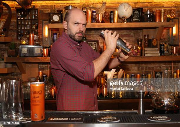 Paul Scheer bartends at the Dead Rabbit to launch the new 1893 flavors Black Currant Cola and Citrus Cola at The Dead Rabbit on April 12 2017 in New...
