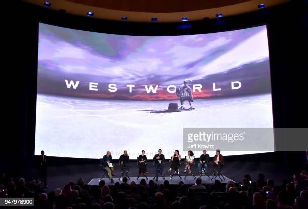 Paul Scheer Jeffrey Wright Evan Rachel Wood Jonathan Nolan Joy Nolan Thandie Newton Ed Harris and James Marsden attend the FYC Event for HBO's...