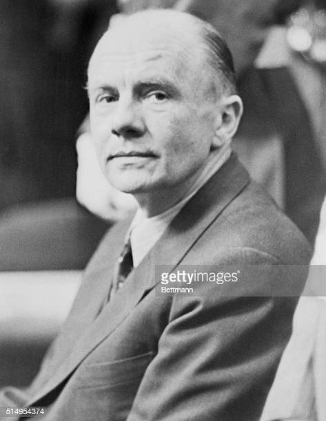 Paul Schmidt one of Adolph Hitler's closest associates and his interpreter at all prewar conferences attends the trial of former Third Reich Foreign...