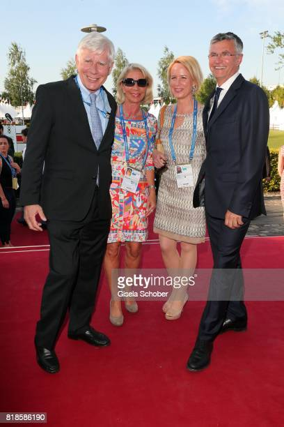 Paul Schockemoehle and his wife Bettina Schockemoehle and Julia Becker and her husband Otto Becker during the media night of the CHIO 2017 on July 18...