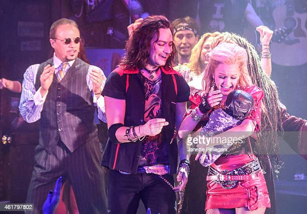 Paul Schoeffle Constantine Maroulis and Lauren Zakrin attend 'Rock Of Ages' Final Performance On Broadway at Helen Hayes Theatre on January 18 2015...