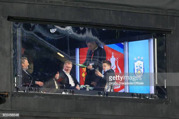 Paul Scholes gives the thumbsup from the BT Sport television studio as he sits alongside fellow pundit Robbie Savage and presenter Jake Humphrey...