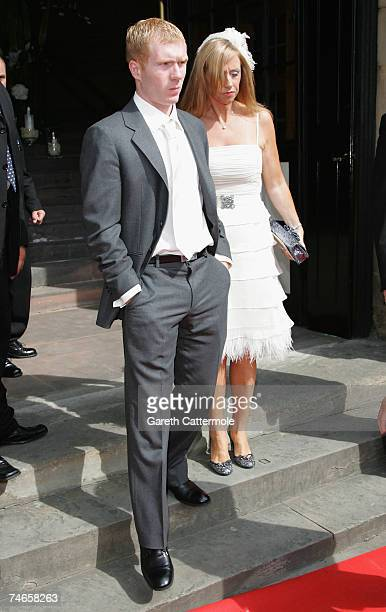 Paul Scholes leaves Manchester Cathedral after the wedding of footballer Gary Neville and Emma Hadfield on June 16 2007 in Manchester England