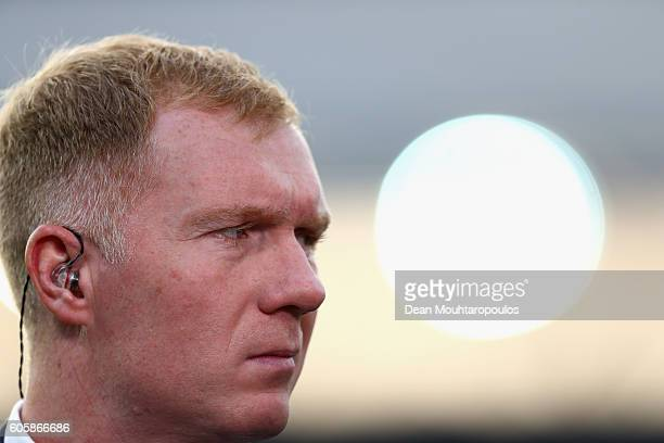Paul Scholes looks on prior to the UEFA Europa League Group A match between Feyenoord and Manchester United FC at Feijenoord Stadion on September 15...