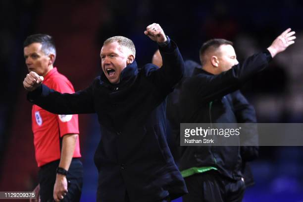 Paul Scholes, Manager of Oldham Athletic celebrates his sides first goal scored by Jose Baxter during the Sky Bet League Two match between Oldham...