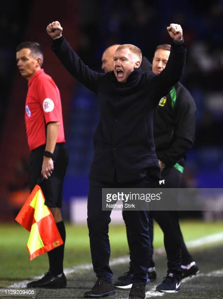 Paul Scholes Manager of Oldham Athletic celebrates his sides first goal scored by Jose Baxter during the Sky Bet League Two match between Oldham...