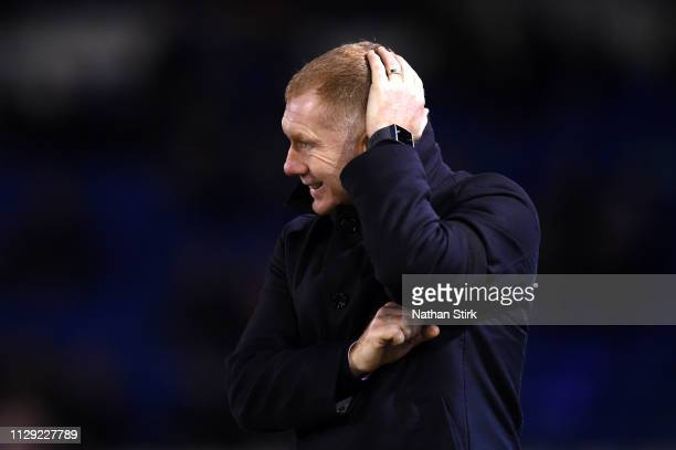 Paul Scholes Manager of Oldham reacts during the Sky Bet League Two match between Oldham Athletic and Yeovil Town at Boundary Park on February 12...