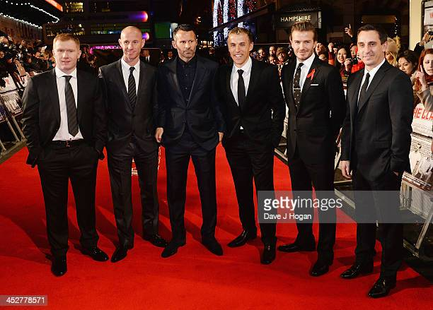 Paul Scholes Nicky Butt Ryan Giggs Phil Neville David Beckham and Gary Neville attend the World premiere of The Class of 92 at Odeon West End on...
