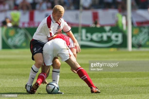 Paul SCHOLES of England and Stephane CHAPUISAT of Switzerland during the European Championship match between England and Switzerland at Estadio...