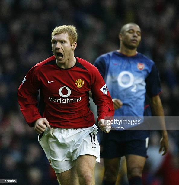 Paul Scholes of Man Utd celebrates scoring the second goal during the Manchester United v Arsenal FA Barclaycard Premiership match at Old Trafford on...