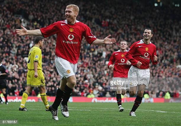 Paul Scholes of Manchester celebrates after scoring the second goal during the Barclays Premiership match between Manchester United and Charlton...