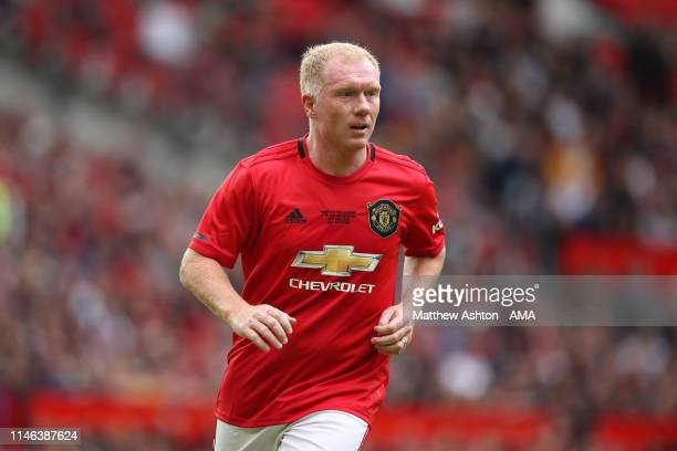 Paul Scholes of Manchester United '99 Legends during the Manchester United '99 Legends v FC Bayern Legends match at Old Trafford on May 26, 2019 in...