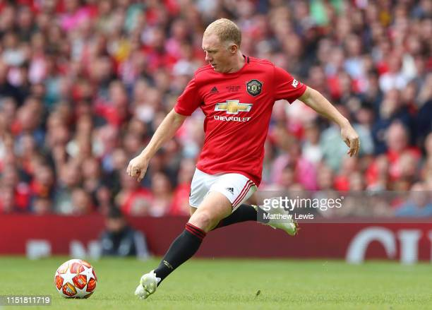 Paul Scholes of Manchester United '99 Legends in action during the Manchester United '99 Legends and FC Bayern Legends match at Old Trafford on May...