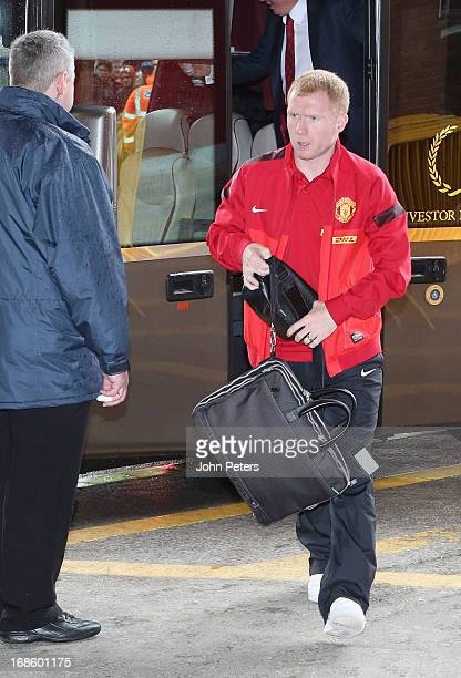 Paul Scholes of Manchester United arrives at the stadium ahead of the Barclays Premier League match between Manchester United and Swansea at Old...