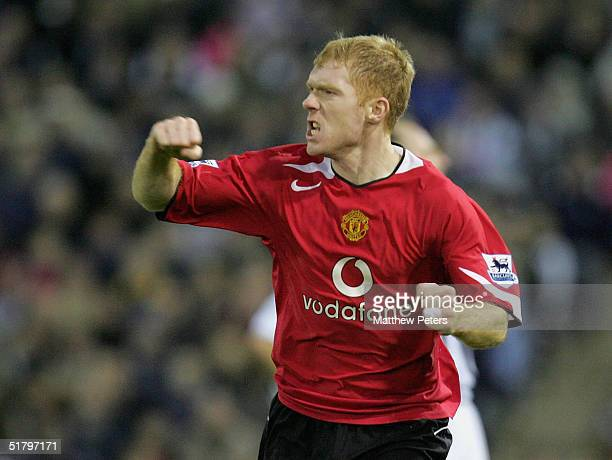 Paul Scholes of Manchester United celebrates scoring the first goal during the Barclays Premiership match between West Bromwich Albion and Manchester...