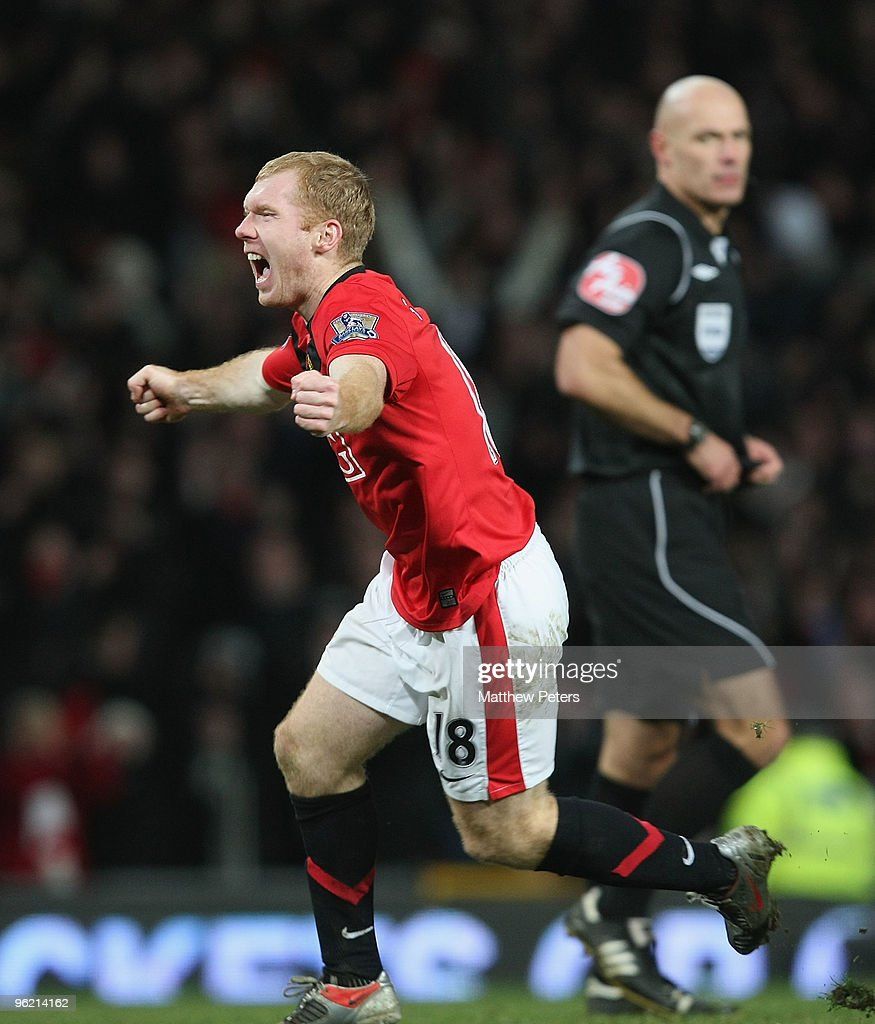 Paul Scholes of Manchester United celebrates scoring their first goal during the Carling Cup Semi-Final Second Leg match between Manchester United and Manchester City at Old Trafford on January 27 2010, in Manchester, England.